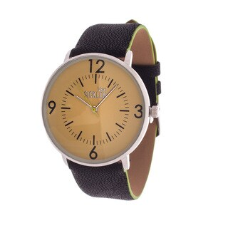 Van Sicklen Men's Antique Silver Case & Gold Dial / Black Leather Strap Watch