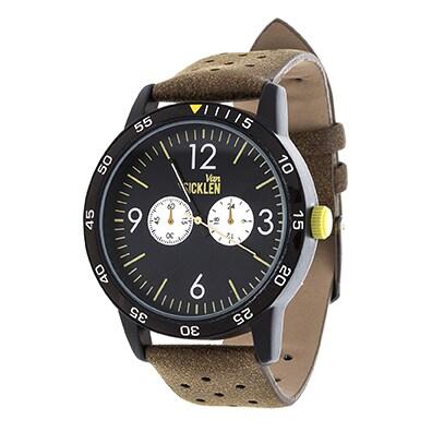 Van Sicklen Men's Black Case and Dial / Brown Leather Strap Watch