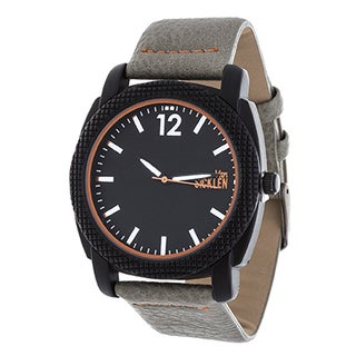 Van Sicklen Men's Black Case and Dial / Grey Leather Strap Watch