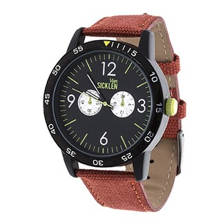 Van Sicklen Men's Black Case and Dial / Red Leather Strap Watch