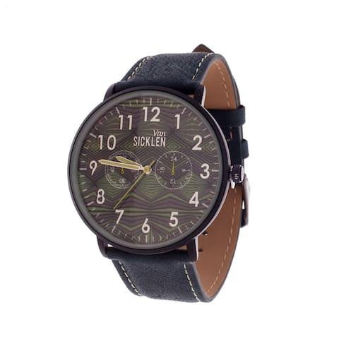 Van Sicklen Men's Black Case with Artwork Dial / Blue Leather Strap Watch