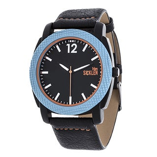 Van Sicklen Men's Blue Case / Black Dial and Leather Strap Watch