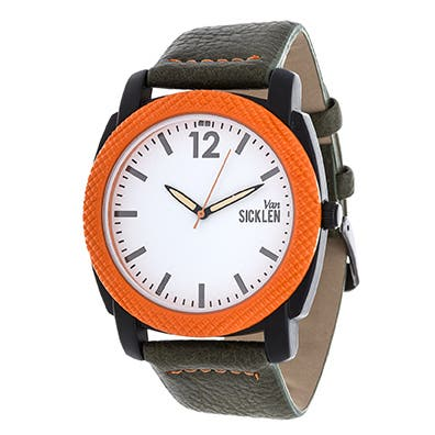 Van Sicklen Men's Orange Case and White Dial / Green Leather Strap Watch