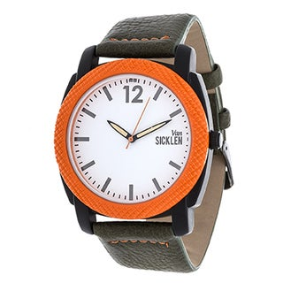 Van Sicklen Men's Orange Case and White Dial / Green Leather Strap Watch