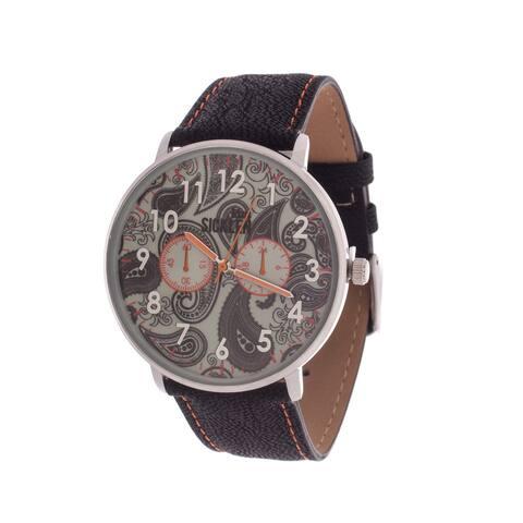 Van Sicklen Men's Silver Case with Artwork Dial / Black Leather Strap Watch