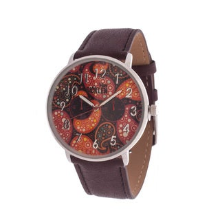 Van Sicklen Men's Silver Case with Artwork Dial / Brown Leather Strap Watch