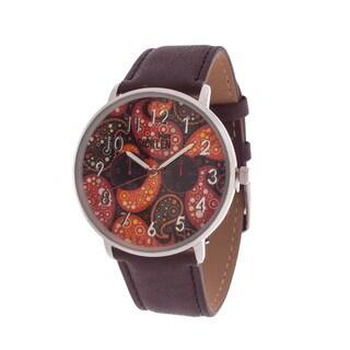 Van Sicklen Men's Silver Case with Artwork Dial / Brown Leather Strap Watch