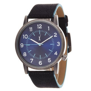 Xtreme Men's Antique Silver Case and Blue Dial / Black Leather Strap Watch