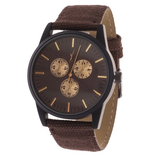 Xtreme Men's Black Case and Dial / Brown Canvas Strap Watch