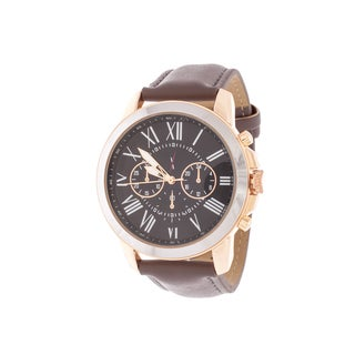 Xtreme Men's Rose Case and Black Dial / Grey Leather Strap Watch