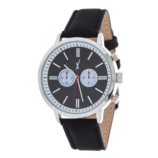 Xtreme Men's Silver Case and Black Dial / Black Leather Strap Watch