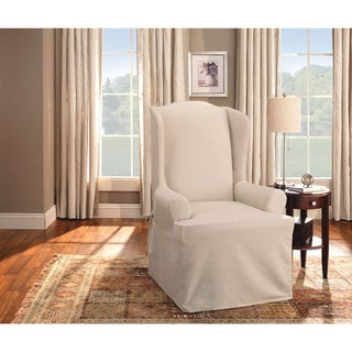 Sure Fit Cotton Duck Wing Chair Slipcover in Natural (As Is Item)