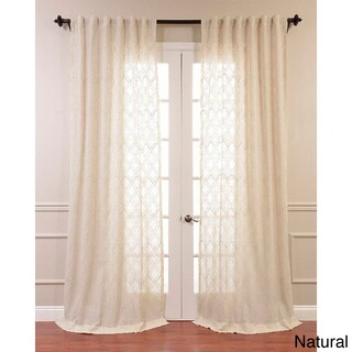 """Exclusive Fabrics Saida Embroidered Faux Linen Sheer Curtain Panel 96"""" Natural (As Is Item)"""