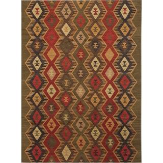 Miramar Traditional Design Green Flat-Weave Rug (2' x 3')