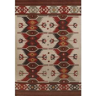 Miramar Traditional Design Ivory Flat-Weave Rug (2' x 3')