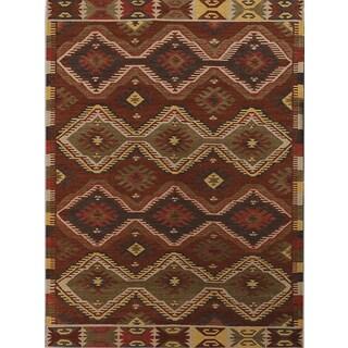 Miramar Traditional Design Orange Flat-Weave Rug (2' x 3')