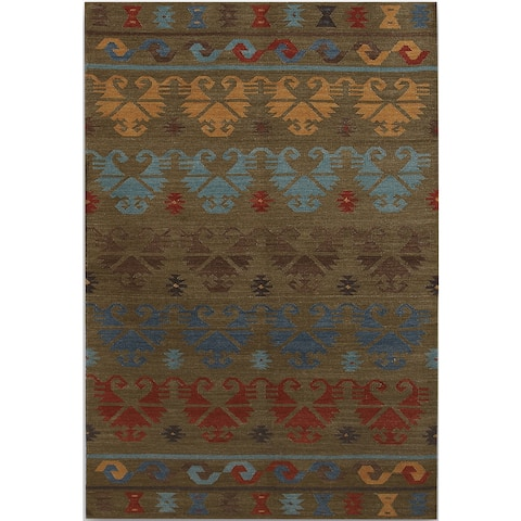 Miramar Traditional Design Green Ikat Flat-Weave Rug (2' x 3') - 2' x 3' Oval