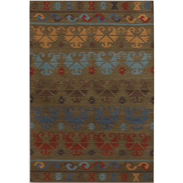 Miramar Traditional Design Green Ikat Flat-Weave Rug (2' x 3') - 2' x 3'