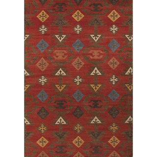 Miramar Traditional Design Rust Flat-Weave Rug (2' x 3')