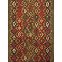 Miramar Traditional Design Green Ikat Flat-Weave Rug (8' x 10') - 8' x 10'