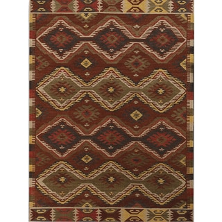 Miramar Traditional Design Orange Ikat Flat-Weave Rug (8' x 10')