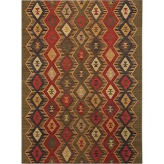 Miramar Traditional Design Green Ikat Flat-Weave Rug (5' x 8')