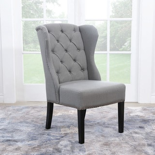 ABBYSON LIVING Sierra Tufted Green-Grey Linen Wingback Dining Chair
