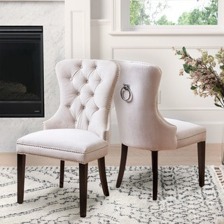 Abbyson Versailles Ivory Tufted Dining Chair