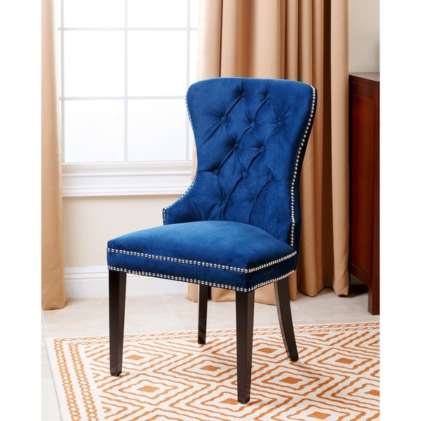 Abbyson Living Versailles Tufted Dining Chair Navy Blue