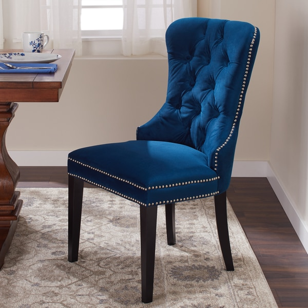 Shop Abbyson Versailles Blue Tufted Dining Chair