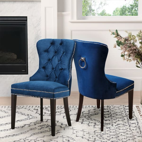 Phenomenal Shop Abbyson Versailles Blue Tufted Dining Chair On Sale Bralicious Painted Fabric Chair Ideas Braliciousco