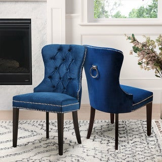 Abbyson Versailles Tufted Dining Chair, Navy Blue