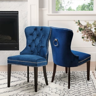 Abbyson Versailles Blue Tufted Dining Chair