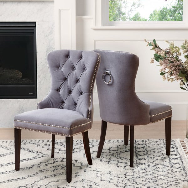 Shop Abbyson Versailles Grey Tufted Dining Chair