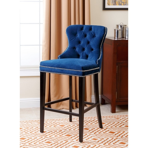 Abbyson Versailles 30 Inch Navy Blue Tufted Bar Stool