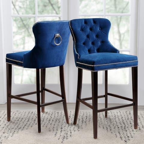 Abbyson Versailles 30-inch Blue Tufted Bar Stool