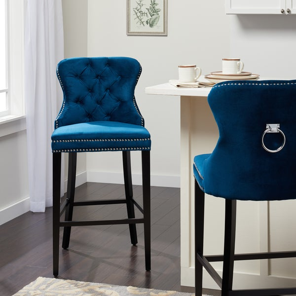 Shop Abbyson Versailles 30 Inch Navy Blue Tufted Bar Stool