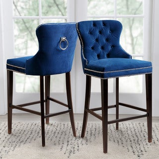 Abbyson Versailles 30-inch Navy Blue Tufted Bar Stool