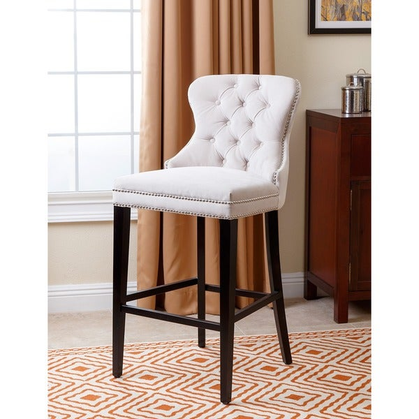 Abbyson Versailles 30 Inch Ivory Tufted Barstool. Click To Zoom