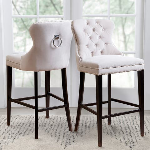 Abbyson Versailles 30-inch Ivory Tufted Barstool