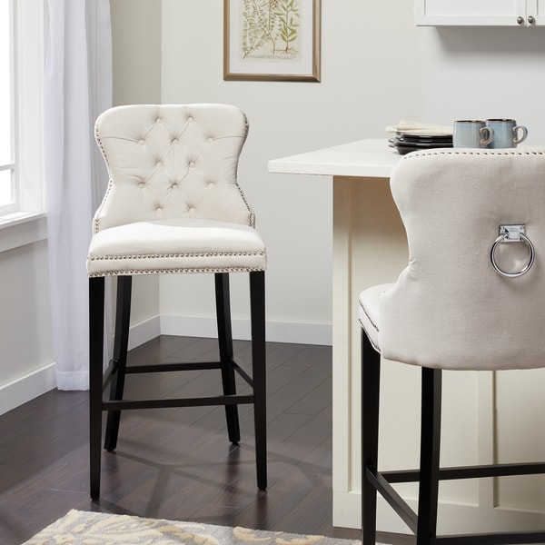 0149743bd1b6 ... Dining Room   Bar Furniture     Counter   Bar Stools. Abbyson  Versailles 30-inch Ivory Tufted Barstool
