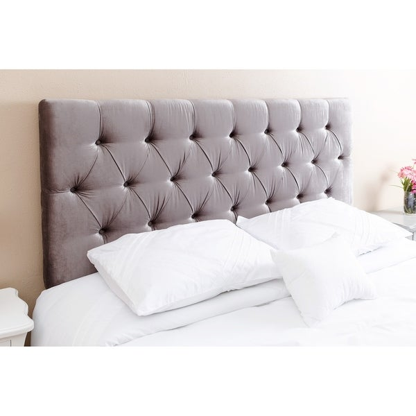 shop abbyson connie tufted grey velvet headboard queen full free shipping today overstock. Black Bedroom Furniture Sets. Home Design Ideas
