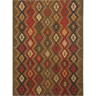 Miramar Traditional Design Green Flat-Weave Rug (3' x 5')