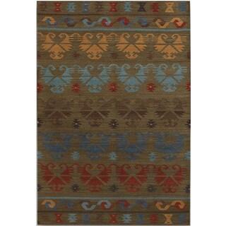 Miramar Traditional Design Green Ikat Flat-Weave Rug (3' x 5')