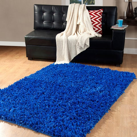 Affinity Home Collection Fancy Yarns Cozy Shag Handmade Contemporary Solid Area Rug (4' x 6')