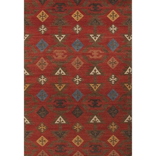 Miramar Traditional Design Rust Flat-Weave Rug (3' x 5')