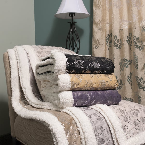 Silver Flowers Sherpa Reversible Faux Lamb's Wool Throw Blanket