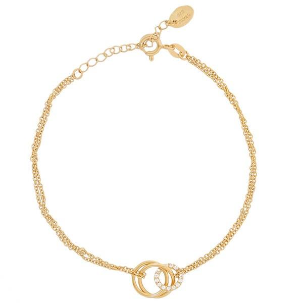Blue Box Jewels Goldplated Sterling Silver Interlocking Triple Rings Bracelet