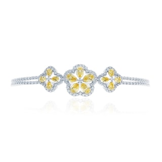 Blue Box Jewels Rhodium-plated Sterling Silver Pear-cut Created Yellow Ruby and Cubic Zirconia Bracelet