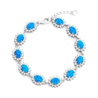 La Preciosa Sterling Silver Created Blue Opal and Cubic Zirconia Link Bracelet
